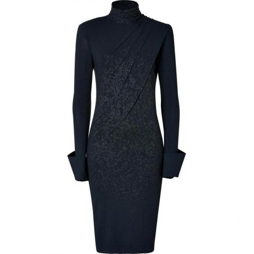Donna Karan Dark Navy Screen Print Open Back Jersey Kleid