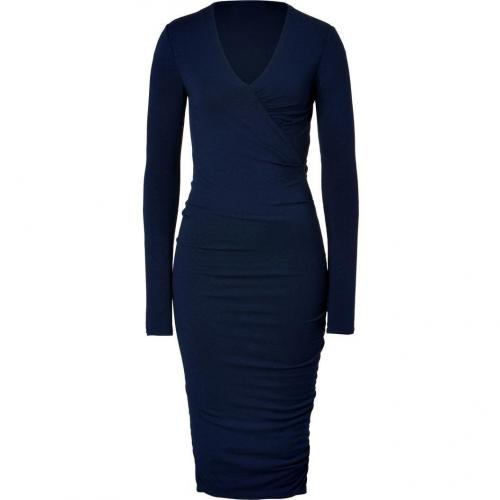 Donna Karan Ink Blue Wool Jersey Kleid