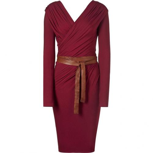 Donna Karan Wine Essential Jersey Belted Draped Kleid
