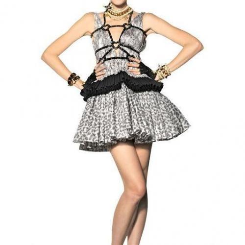 Dsquared Bedrucktes Kleid Aus Seidenorganza Mit Rüschen