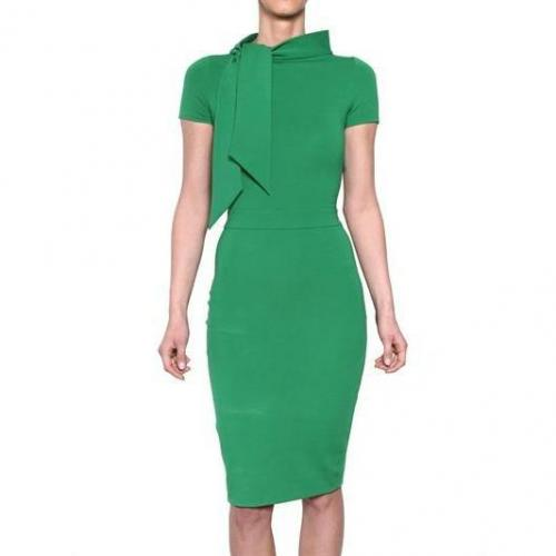 Dsquared Kompaktes Woll Jersey Kleid Grün