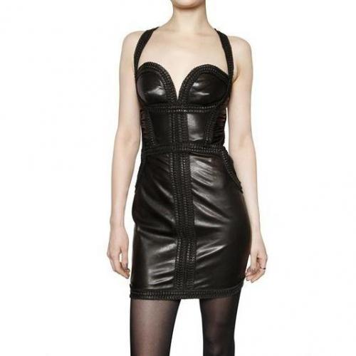 Dsquared Plissiertes Trim Leder Kleid
