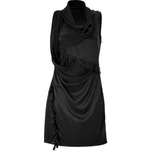 Edun Black Draped Fringed Silk Dress