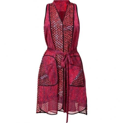 Edun Magenta Weave Print Belted Shirt Dress