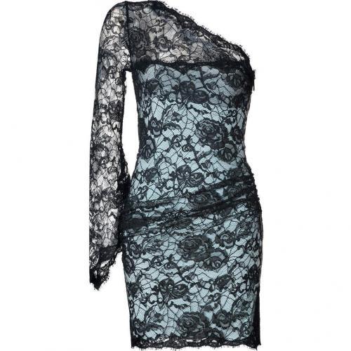 Emilio Pucci Black-Azure Lace-Overlay One Shoulder Dress