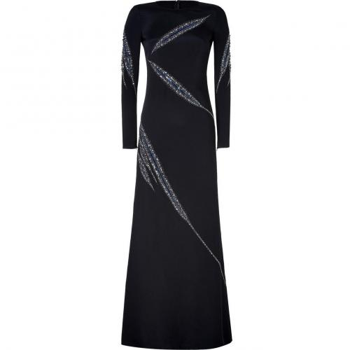 Emilio Pucci Black Silk Crystal Embellished Evening Gown