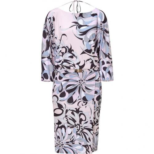 Emilio Pucci Blush/Black Printed Draped Dolman Dress