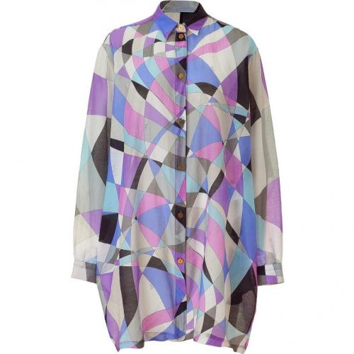 Emilio Pucci Ocean Multi-Cube Sheer Shirt Dress
