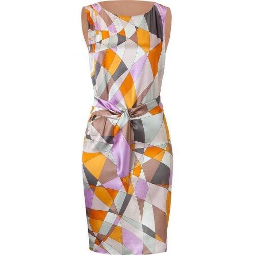 Emilio Pucci Pumpkin Multi-Cube Belted Silk Dress