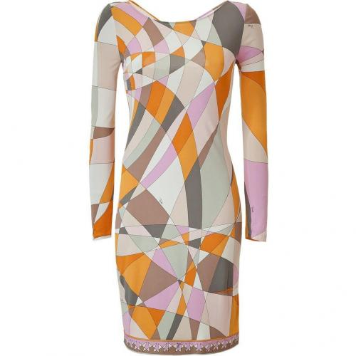 Emilio Pucci Pumpkin Multi-Cube Cut Out Back Dress