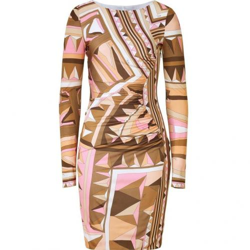 Emilio Pucci Rose/Caramel Draped Jersey Dress