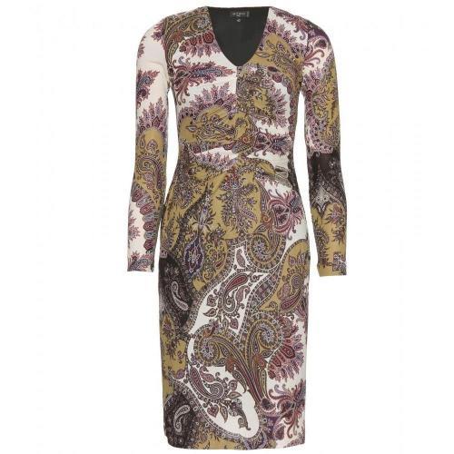 Etro Gerafftes Paisley-Print-Kleid Olivbraun
