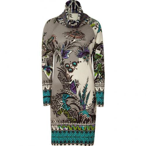 Etro Heather Grey /Ecru Knit Kleid Purple/Black Patterned