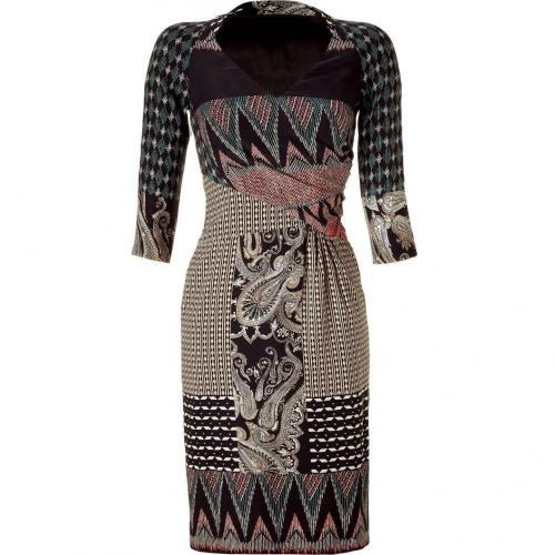 Etro Multicolor Draped Silk Blend Kleid