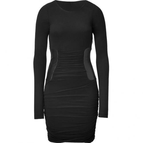 Faith Connexion Black Draped Dress with Leather Waist Detail