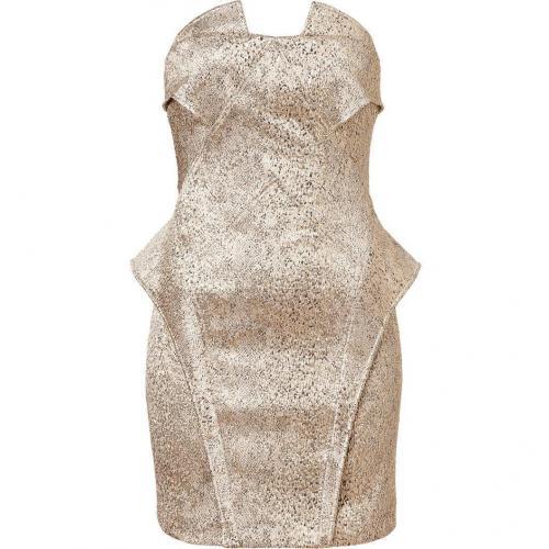 Faith Connexion Gold Reptile Printed Brocade Dress