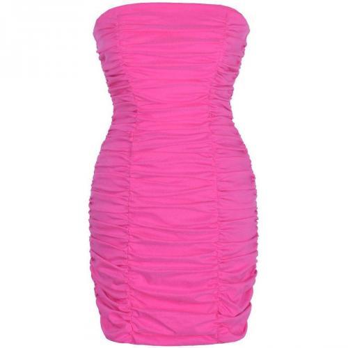 Fashionart Gerafftes Cosragenkleid Cocktailkleid / festliches Kleid pink