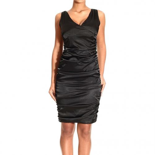Frankie Morello Sleeveless v neck draped satin dress