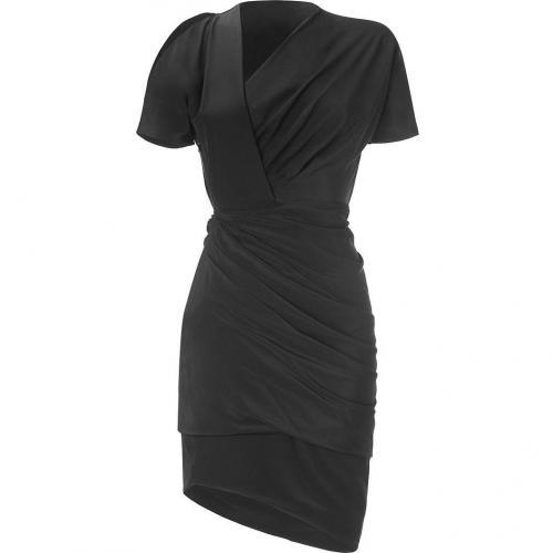 Halston Black Cut-Out Shoulder Drape Kleid