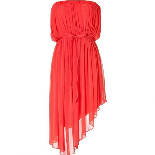 Halston Bright Coral Strapless Belted Kleid