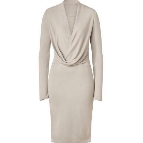 Halston Heritage Atmosphere Beige Draped Front Jersey Kleid