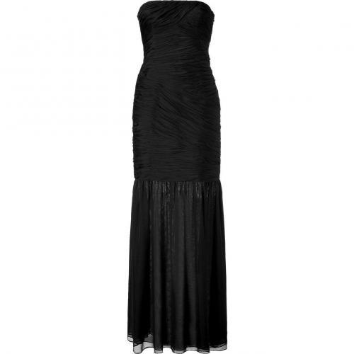 Halston Heritage Black Strapless Silk Kleid