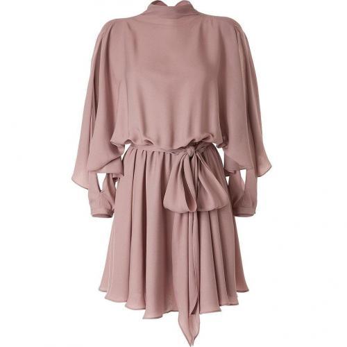 Halston Rose Smoke Slit-Sleeve Belted Kleid