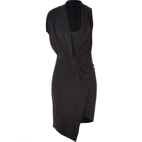 Helmut Lang Anthracite Draped Jersey Dress