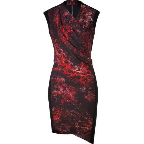 Helmut Lang Black/Red Multi Midnight Floral Twill Dress