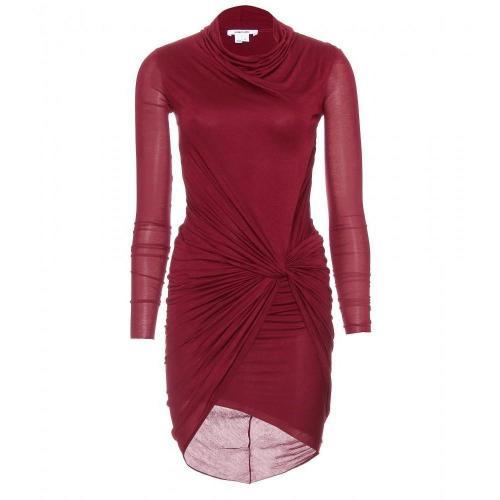 Helmut Lang Drapiertes Jerseykleid Rot
