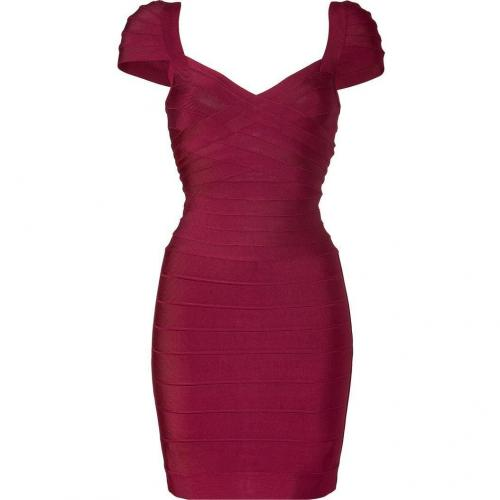 Hervé Léger Berry Cap Sleeve Bandage Dress