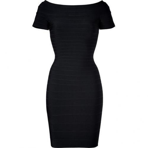 Hervé Léger Black Off-the-Shoulder Bandage Dress