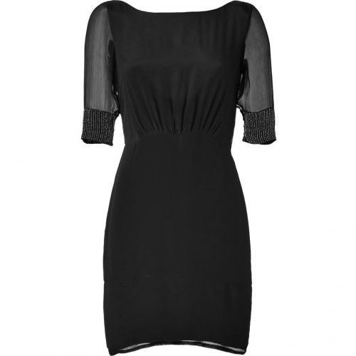 Hoss Intropia Black Silk Bead Embellished Dress