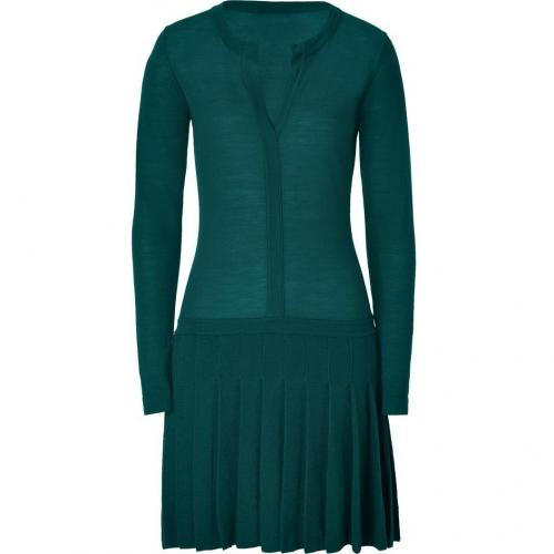Hoss Intropia Dark Turquoise Pleated Merino Wool Dress