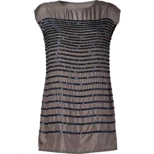 Hoss Intropia Mole Grey Sequined Silk Shift Dress