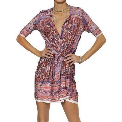 Isabel Marant Bedrucktes Kleid Aus Viskosejersey kurzärmlig