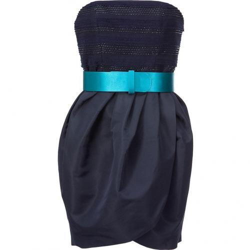 Jason Wu Navy Strapless Belted Dress