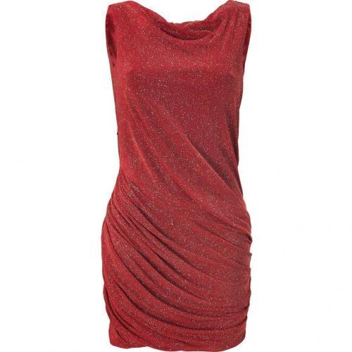 Jay Ahr Red Draped Lurex Dress