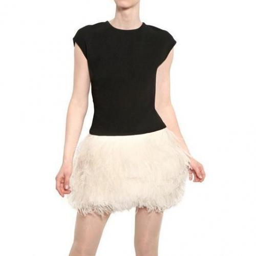 Jay Ahr Straußen Federn Auf Woll Crepe Kleid