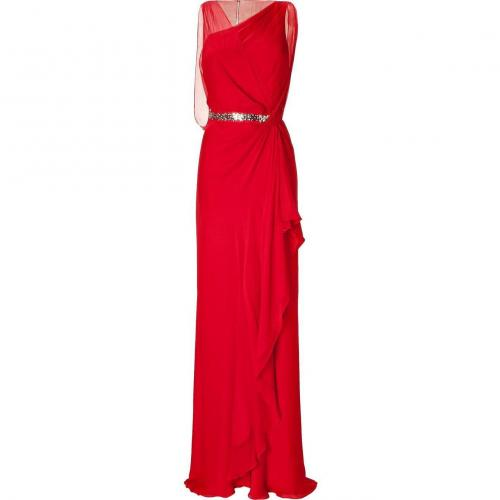Jenny Packham Blood Red Crystal Embroidered Waist Dress