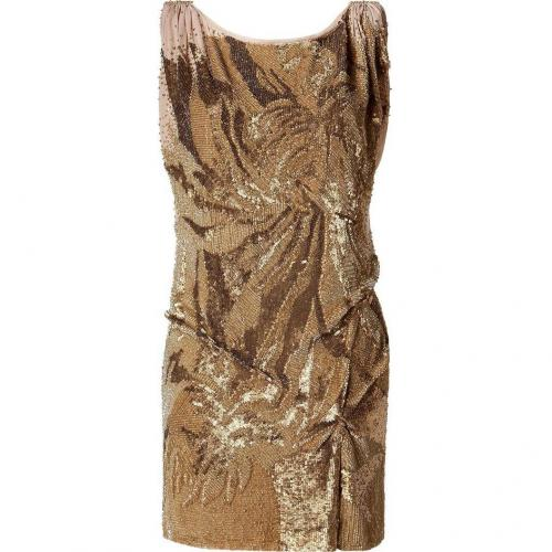Jenny Packham Gold All Over Sequined Dress with Scoop Neck Back