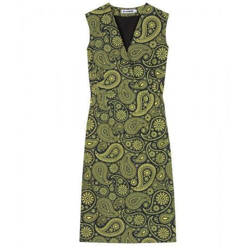 Jil Sander Baumwollkleid Mit Paisley-Print Green