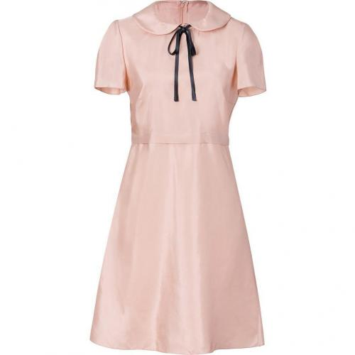 Jil Sander Navy Blush Ribbon Tie Neck Dress