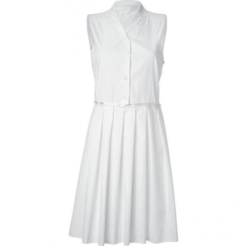 Jil Sander Navy Ivory Cotton Dotted Daisy Dress