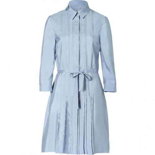 Jil Sander Navy Sky Blue Pleated Silk Shirtdress