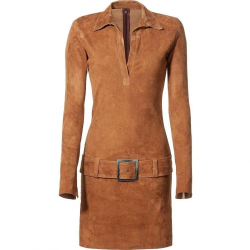 Jitrois Amber Belted Stretch-Leather Dress