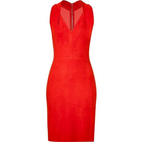 Jitrois Mandarin Red Suede Stretch Dress