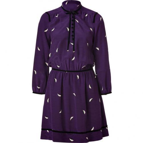 Juicy Couture Blackberry Modern Leaf Print Silk Dress