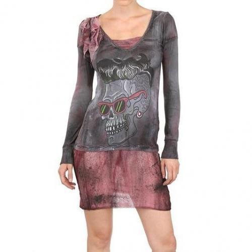 Kin And Gin Handgefertigtes Tüll Und Baumwolle Jersey Kleid Grau Rot