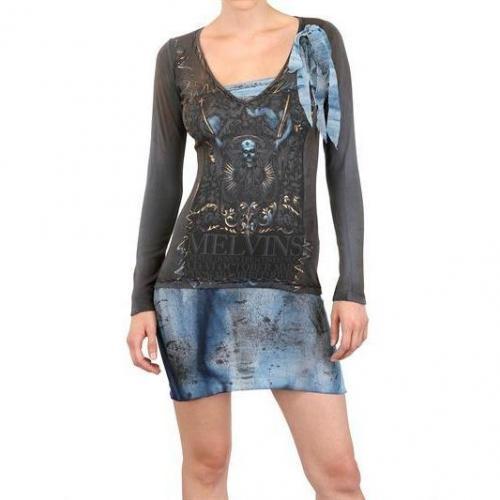 Kin And Gin Handgefertigtes Tüll Und Baumwolle Jersey Kleid Schwarz Blau